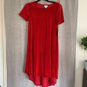 LuLaRoe Carly Hi Low Red Velvet Dress